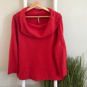 Free People | Red Fuzzy Boxy Cowl Neck Sweater